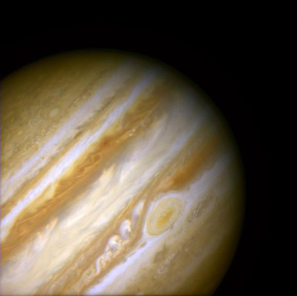 The Red Spot is the largest known storm in the Solar System, as shown in this image obtained by NASA's Hubble Space Telescope. With a diameter of 15,400 miles, it is almost twice the size of the entire Earth and one-sixth the diameter of Jupiter itself.