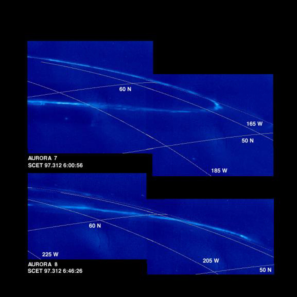 Mosaics of Jupiter's night side show the Jovian aurora at approximately 45 minute intervals as the auroral ring rotated with the planet below the spacecraft. The images were obtained by the Solid State Imaging (SSI) system on NASA's Galileo spacecraft.