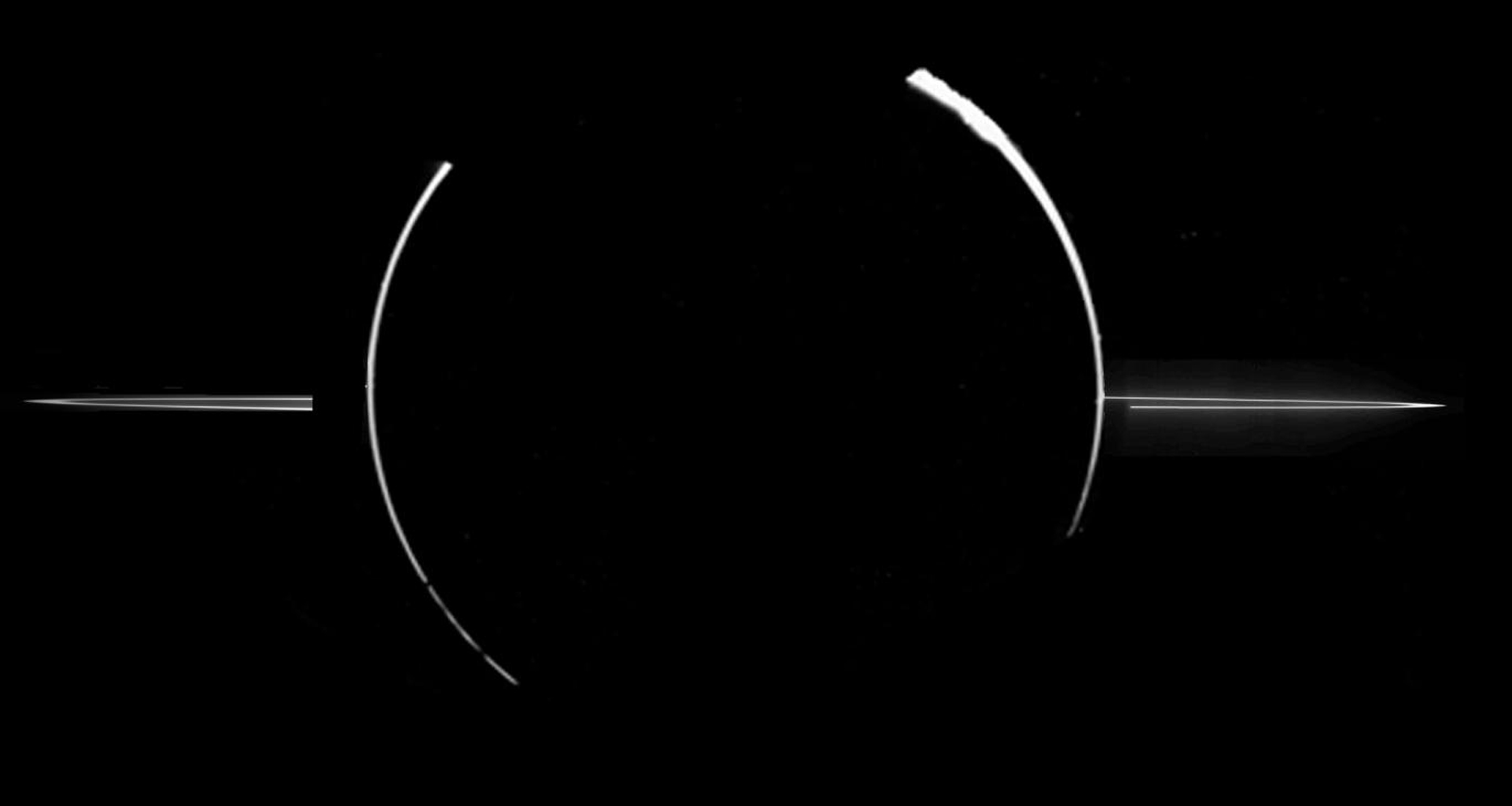 This mosaic of Jupiter's ring system was acquired by NASA's Galileo spacecraft when the Sun was behind the planet, and the spacecraft was in Jupiter's shadow peering back toward the Sun.