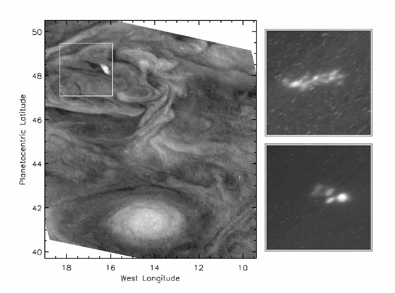 This picture highlights a convective storm (left panel) and the associated lightning (right panels) in Jupiter's atmosphere. The images were taken by the solid state imaging camera system on NASA's Galileo spacecraft at a range of 1.1 million kilometers.