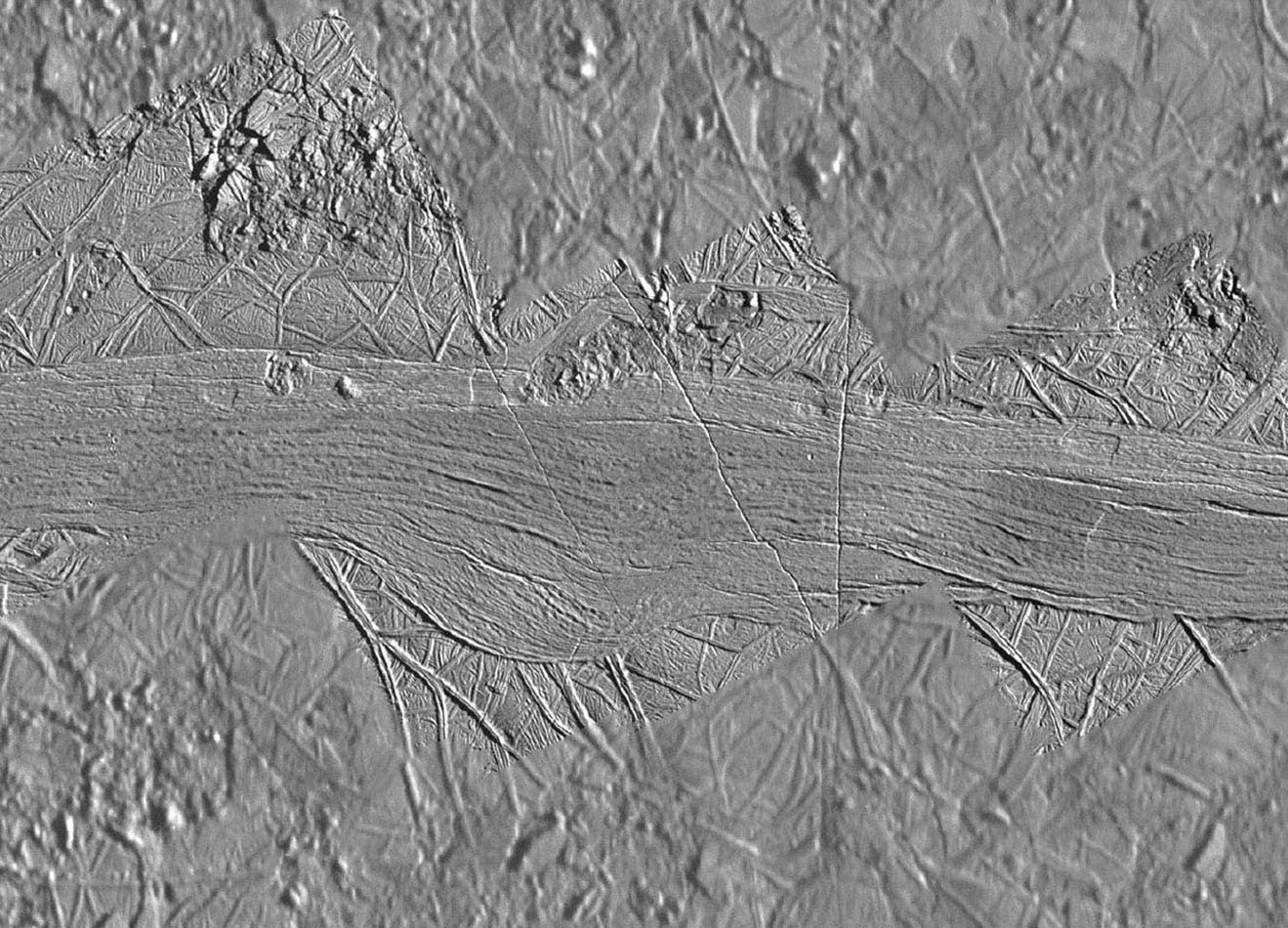Agenor Linea is an unusual feature on Jupiter's icy moon Europa since it is brighter than its surroundings while most of Europa's ridges and bands are relatively dark. High resolution images of Agenor Linea captured by NASA's Galileo spacecraft.