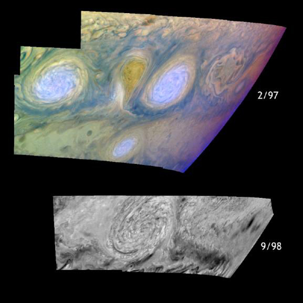 Jupiter's white oval storms before and after their historic merger in 1998. Three classic white ovals which formed in the 1930's have occupied the band from 31 to 35 degrees south planetocentric latitude ever since. Images from NASA's Galileo spacecraft.