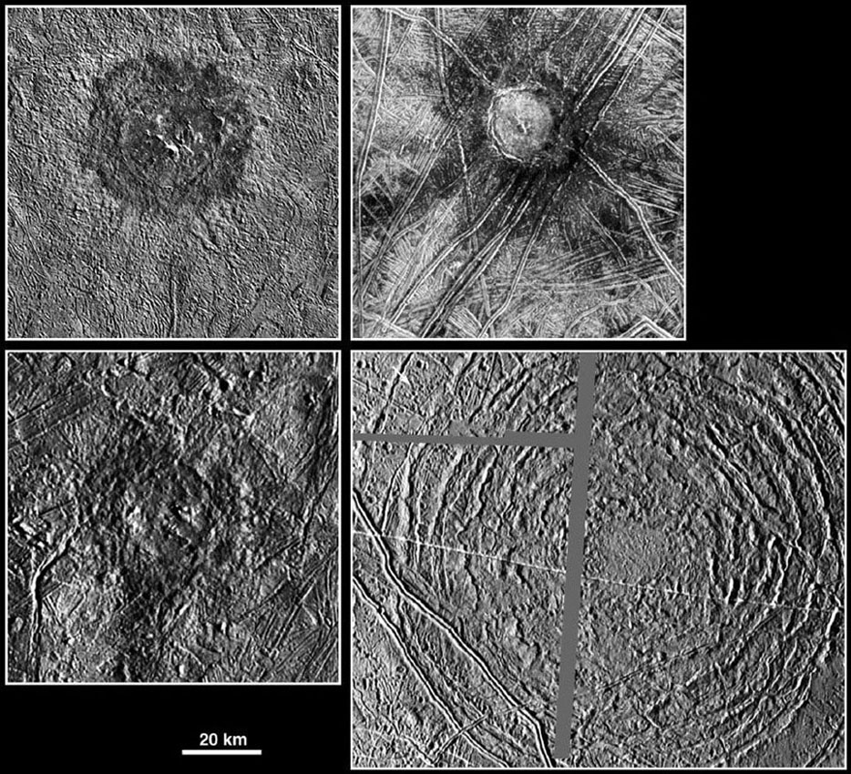 The picture compares four large impact structures on Jupiter's icy moon, Europa. Clockwise, from top left, are Pwyll, Cilix, Tyre, and Mannann'an. All images were taken by the Solid State Imaging (SSI) system on NASA's Galileo spacecraft.