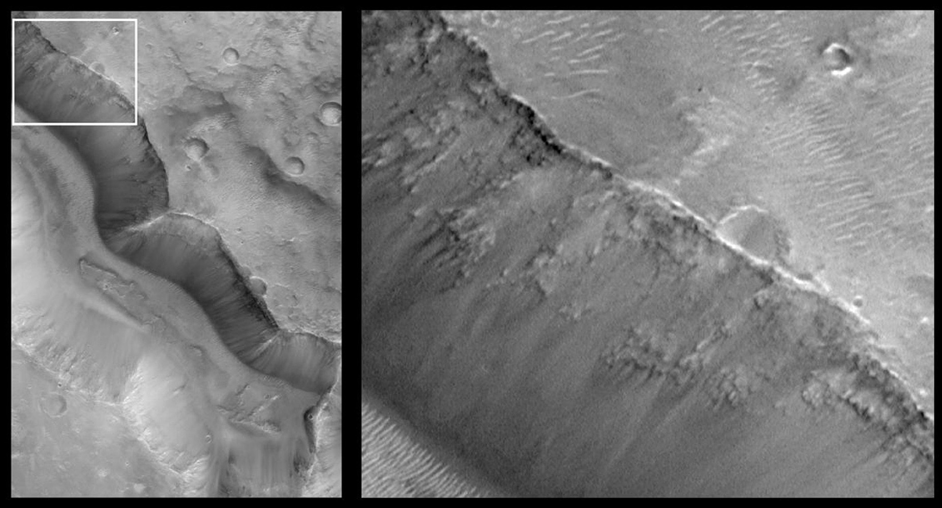 NASA's Mars Global Surveyor shows the deep, steep-walled valley in Tagus Vallis in the martian southern hemisphere of Mars. Layered rock can be seen, exposed in the upper slopes of the valley. Bright sand dunes are visible on the valley floor.