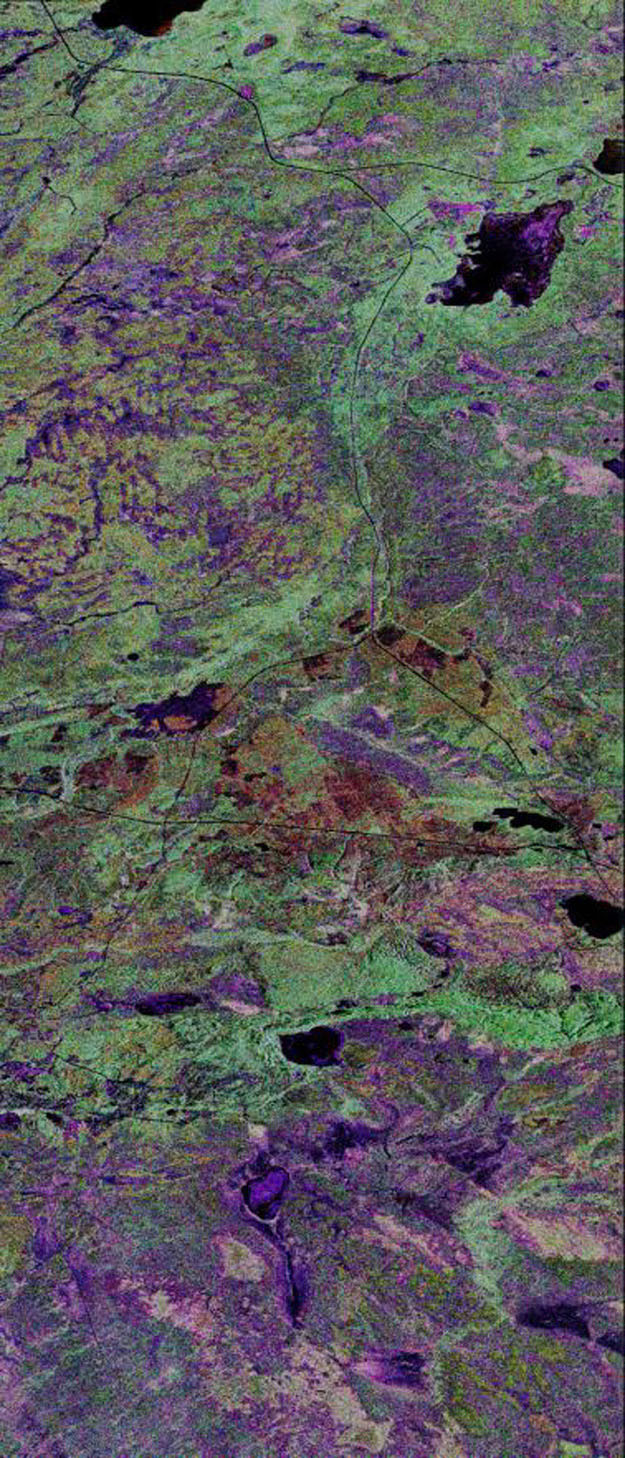 This image from NASA's Spaceborne Imaging Radar-C/X-band Synthetic Aperture Radar shows Prince Albert, in the Saskatchewan province of Canada, centered at 53.91 north latitude and 104.69 west longitude.