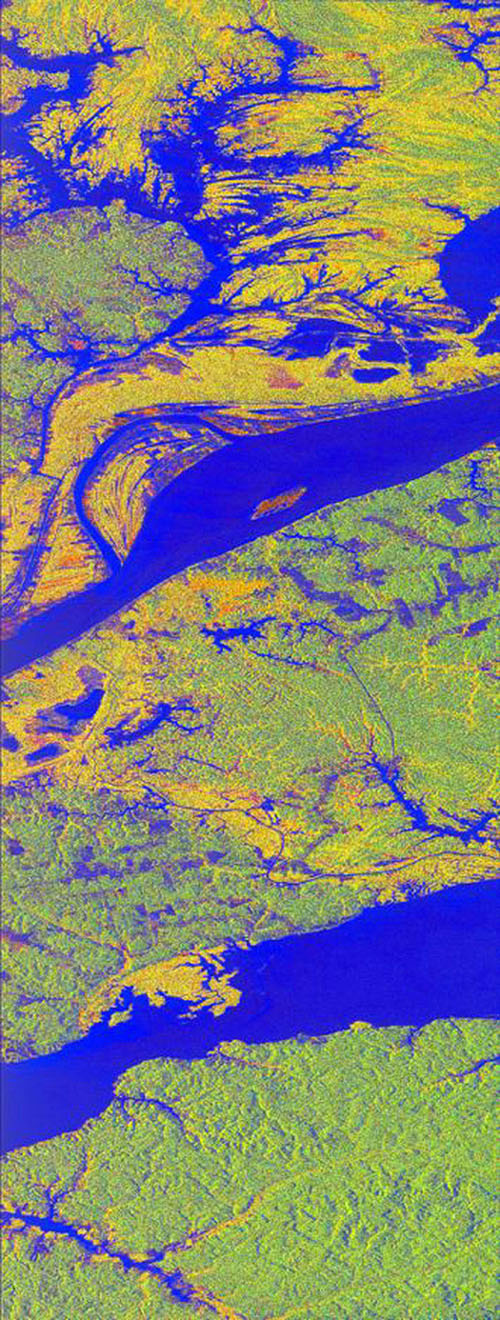 This false-color L-band image of the Manaus region of Brazil was acquired by NASA's Spaceborne Imaging Radar-C and X-Band Synthetic Aperture Radar aboard the space shuttle Endeavour on orbit 46 of the mission.