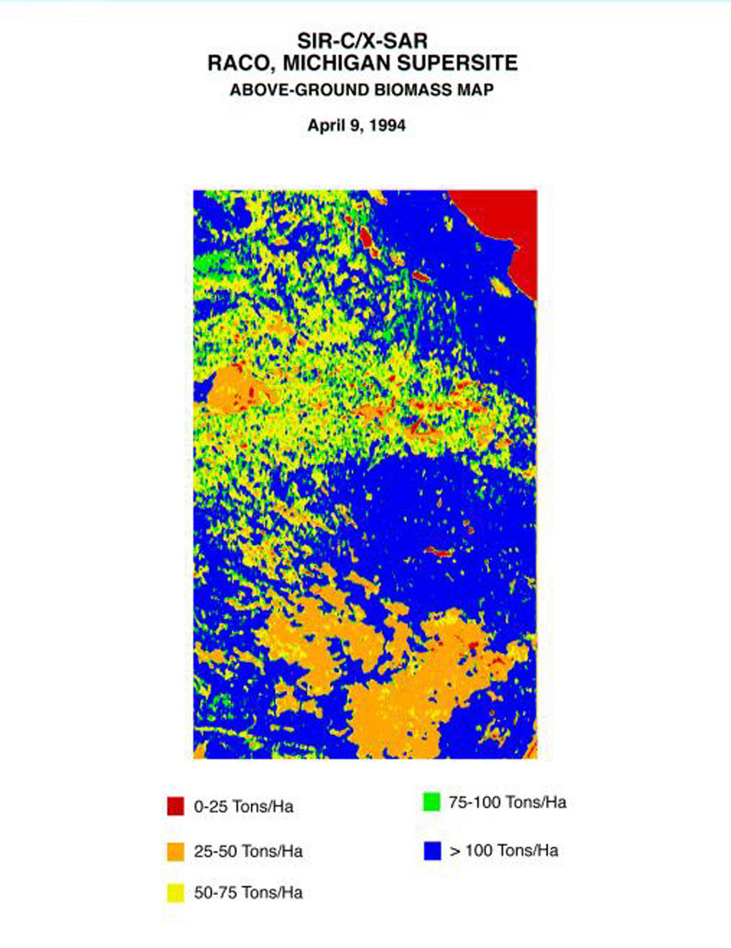 This biomass map of the Raco, Michigan, area was produced from data acquired by NASA's Spaceborne Imaging Radar C/X-Band Synthetic Aperture Radar onboard space shuttle Endeavour.
