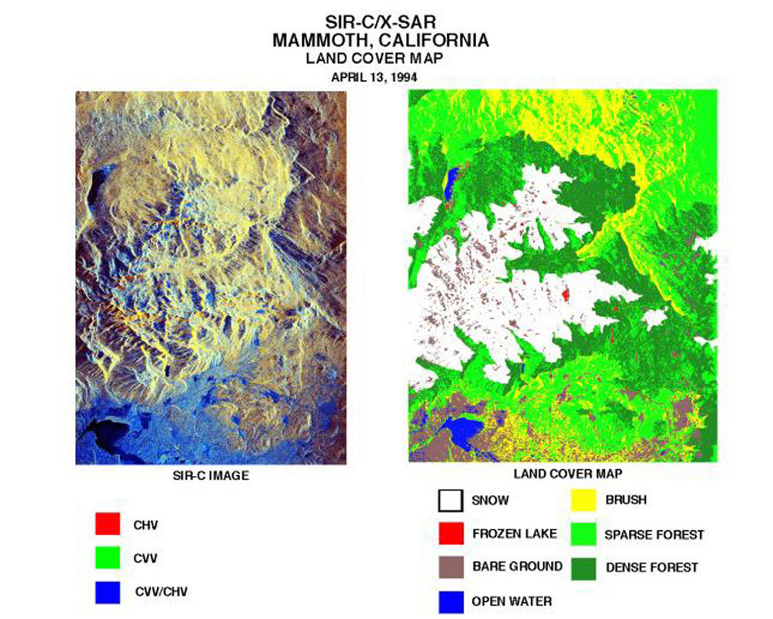 These two images of the Mammoth Mountain area in California's Sierra Nevada Mountains were created using data from NASA's Spaceborne Imaging Radar C/X-Band Synthetic Aperture Radar.