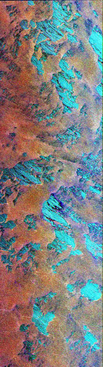 This NASA Spaceborne Imaging Radar-C/X-band Synthetic Aperture Radar color composite shows a portion of the Weddell Sea, which is adjacent to the continent of Antarctica.
