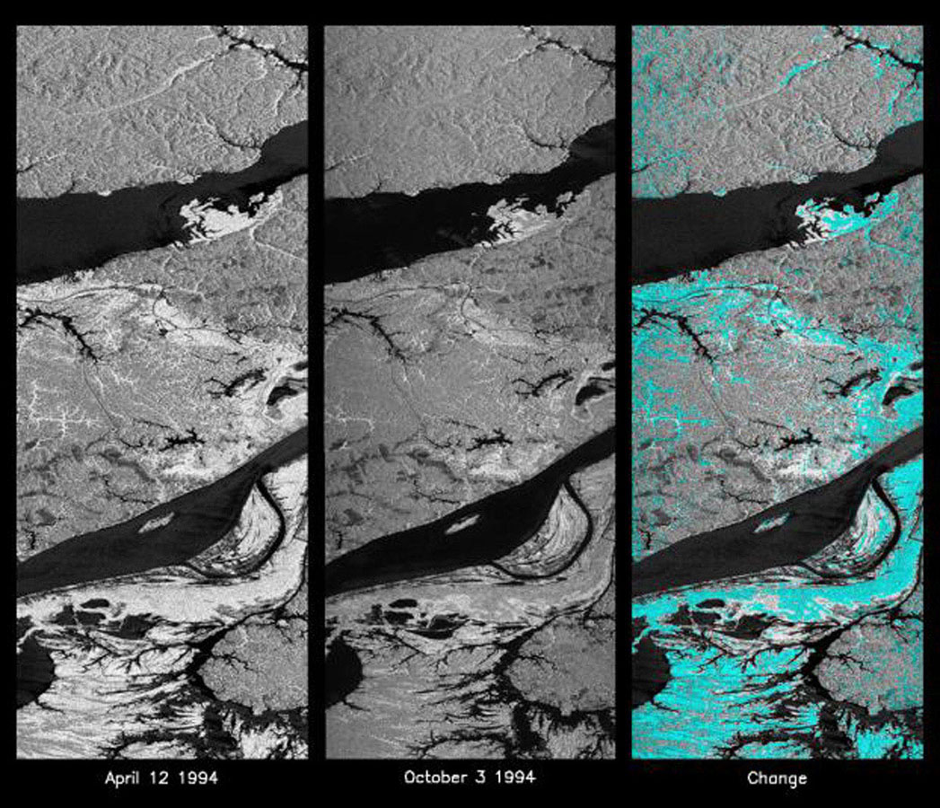 These L-band images of the Manaus region of Brazil were acquired by NASA's Spaceborne Imaging Radar-C and X-band Synthetic Aperture Radar aboard the space shuttle Endeavour.