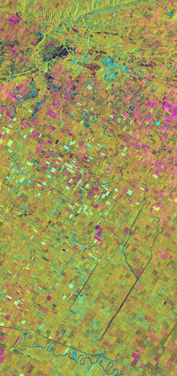 This is an X-band seasonal image from NASA's Spaceborne Imaging Radar C/X-Band Synthetic Aperture Radar  of the Altona test site in Manitoba, Canada, about 80 kilometers (50 miles) south of Winnipeg.