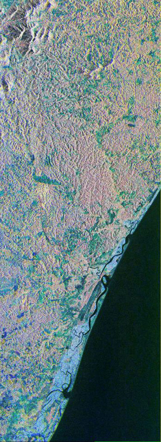 This is a color composite image NASA's Spaceborne Imaging Radar-C/X-band Synthetic Aperture Radar of southern Bahia, Brazil, centered at 15.22 degree south latitude and 39.07 degrees west longitude.