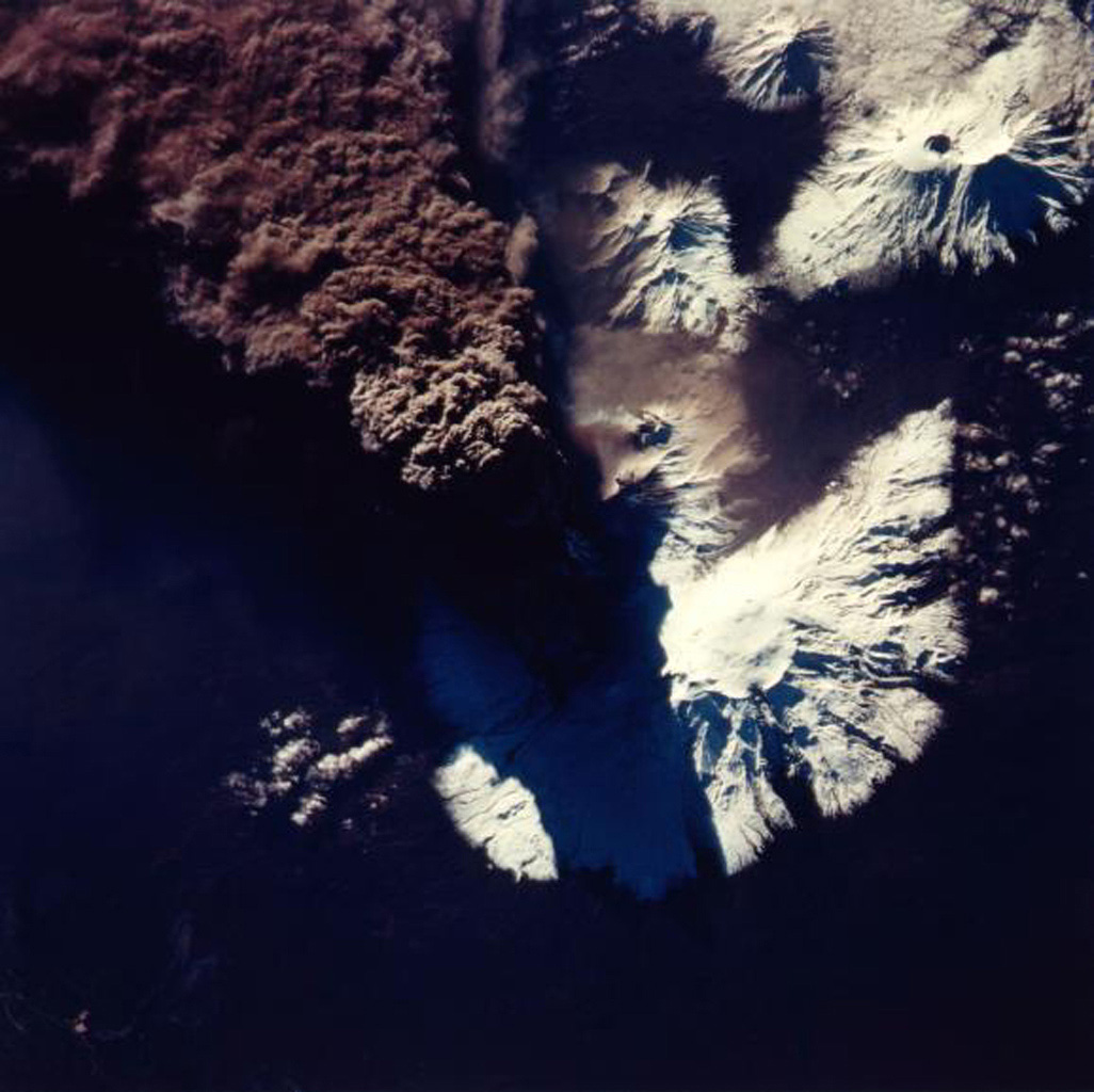This photograph of the eruption of Kliuchevskoi volcano, Kamchatka, Russia was taken by NASA's Spaceborne Imaging Radar-C/X-band Synthetic Aperture Radar during the early hours of the eruption on September 30, 1994.