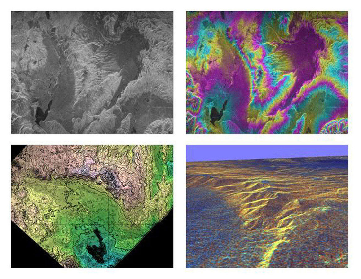 These four images NASA's Spaceborne Imaging Radar-C/X-band Synthetic Aperture Radar of the Long Valley region of east-central California illustrate the steps required to produced three dimensional data and topographics maps from radar interferometry.