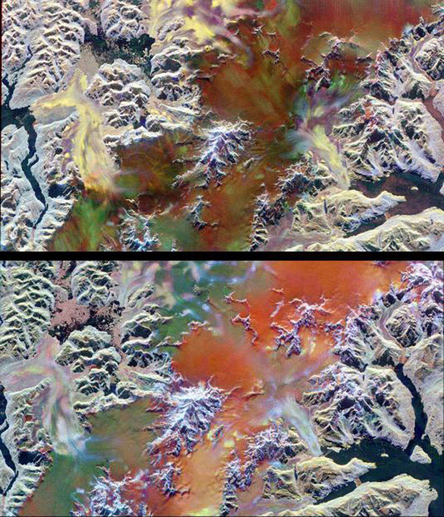 This pair of images illustrates the ability of multi-parameter radar imaging sensors such as NASA's Spaceborne Imaging Radar-C/X-band Synthetic Aperture radar to detect climate-related changes.