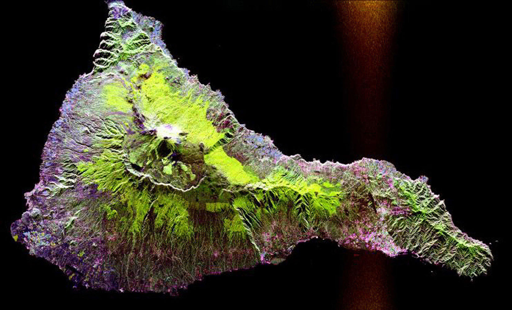This radar image NASA's Spaceborne Imaging Radar-C/X-band Synthetic Aperture Radar shows the Teide volcano on the island of Tenerife in the Canary Islands, part of Spain, located in the eastern Atlantic Ocean off the coast of Morocco.