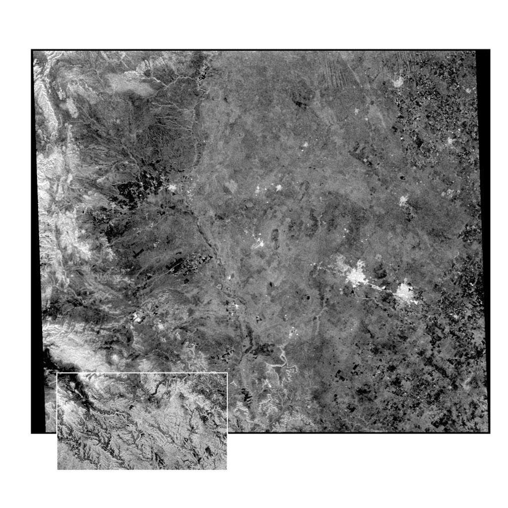 This radar image from NASA's Spaceborne Imaging Radar-C/X-band Synthetic Aperture Radar of the Midland/Odessa region of West Texas, demonstrates an experimental technique that allows scientists to rapidly image large areas of the Earth's surface.