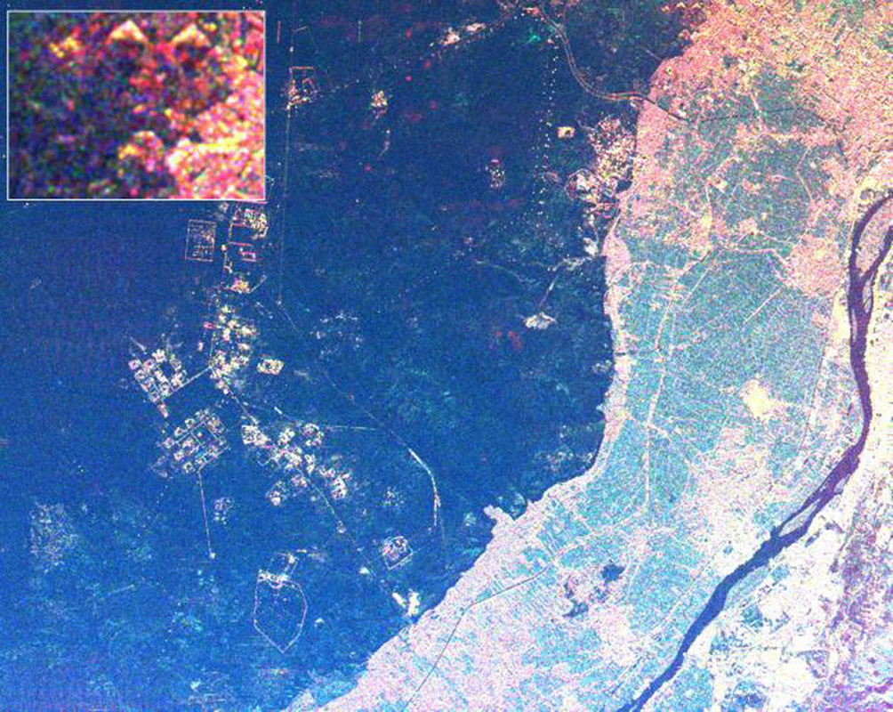 This radar image from NASA's Spaceborne Imaging Radar-C/X-band Synthetic Aperture Radar shows the area west of the Nile River near Cairo, Egypt. The Nile River is the dark band flowing approximately North.