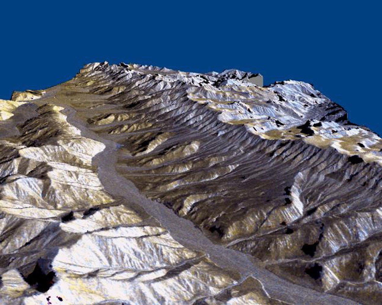 This three-dimensional perspective of the remote Karakax Valley in the northern Tibetan Plateau of western China was created by combining two spaceborne radar images from NASA's Spaceborne Imaging Radar C/X-Band Synthetic Aperture Radar.