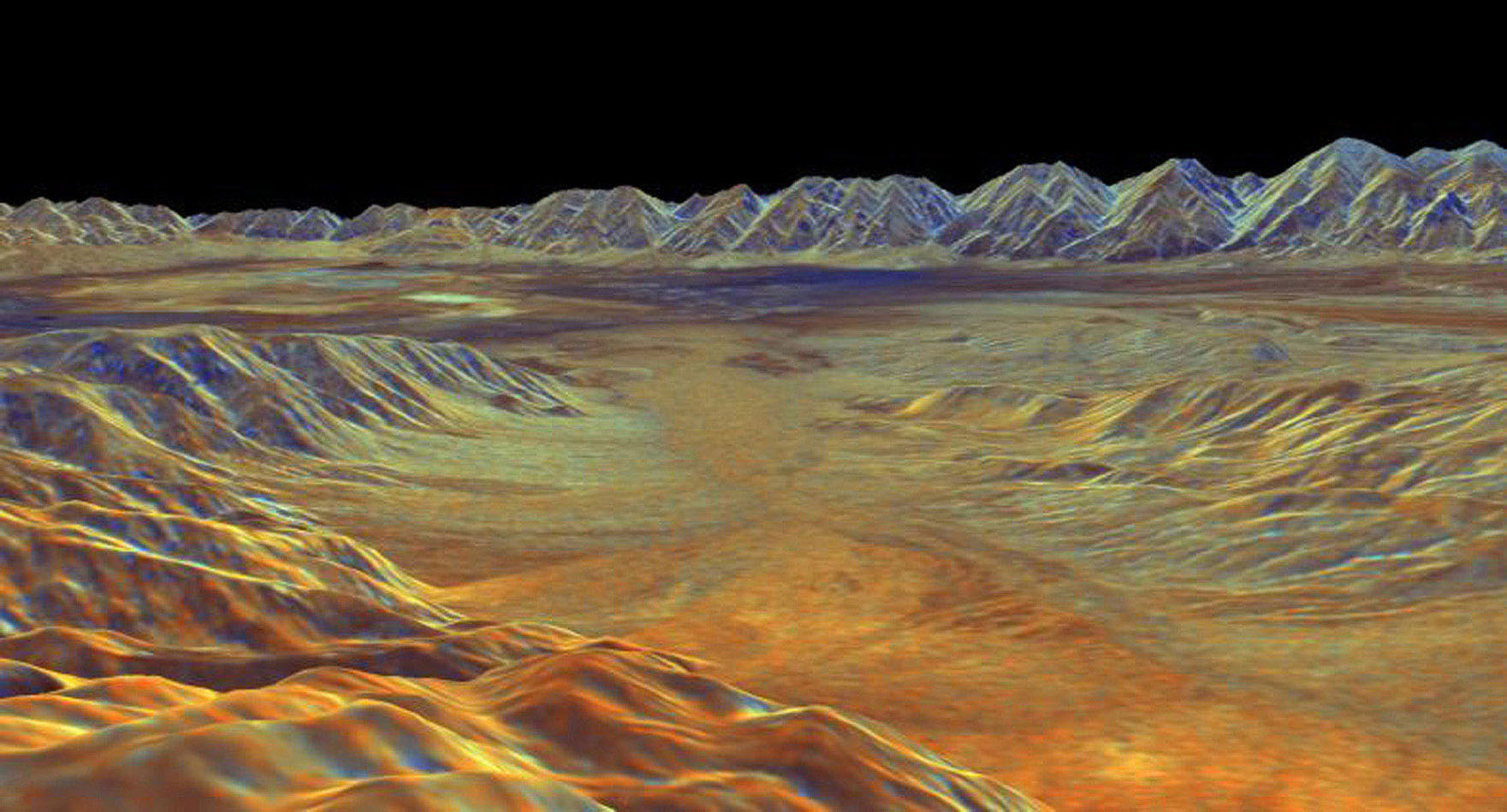 This is a three-dimensional perspective view from NASA's Spaceborne Imaging Radar C/X-Band Synthetic Aperture Radar of Saline Valley, about 30 km (19 miles) east of the town of Independence, California.