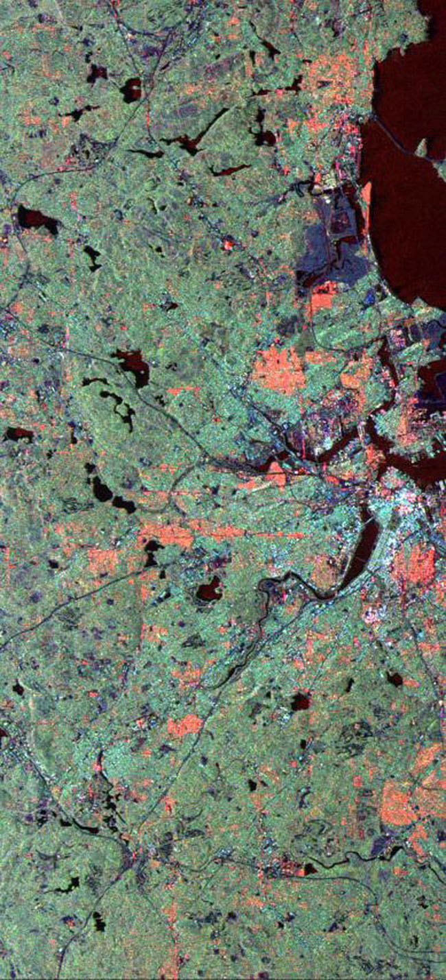 This radar image from NASA's Spaceborne Imaging Radar C/X-Band Synthetic Aperture Radar of the area surrounding Boston, Mass.