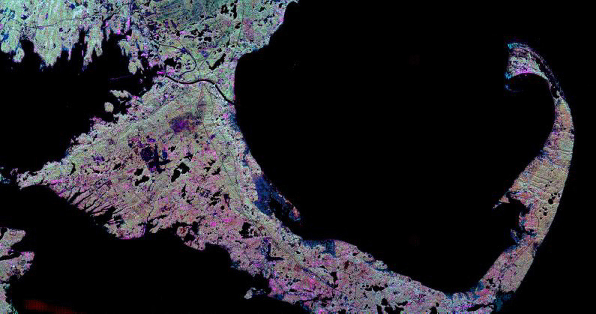 This spaceborne radar image from NASA's Spaceborne Imaging Radar C/X-Band Synthetic Aperture Radar shows the famous 'hook' of Cape Cod, Massachusetts. The Cape, which juts out into the Atlantic Ocean southeast of Boston.