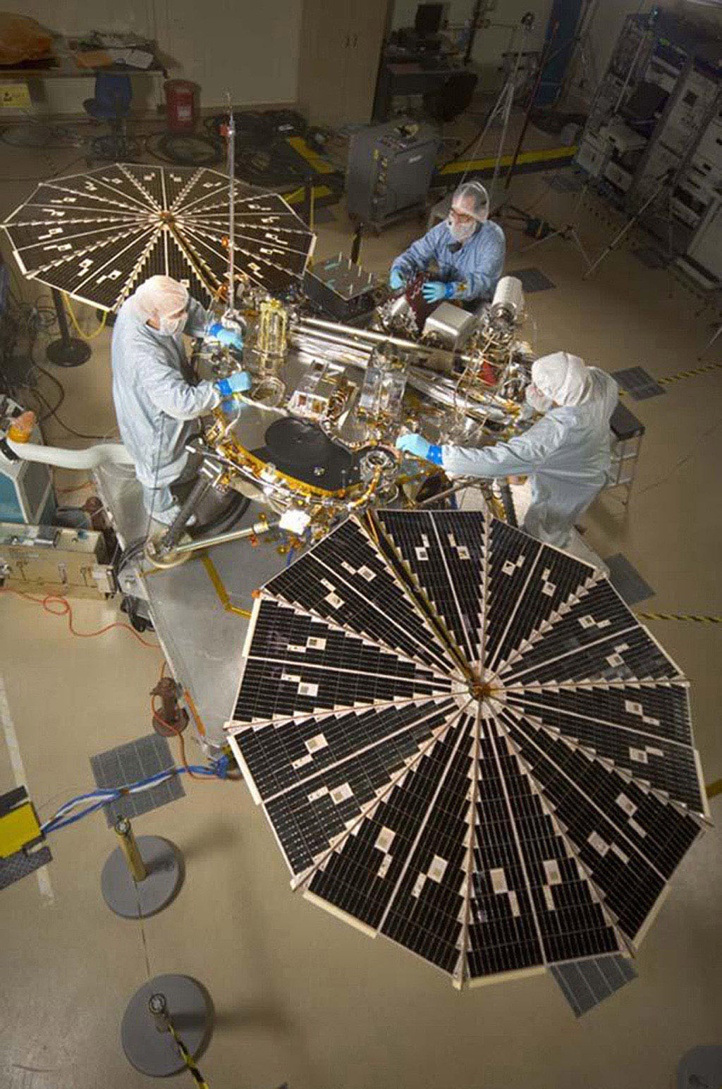 NASA's next Mars-bound spacecraft, the Phoenix Mars Lander, partway through assembly and testing at Lockheed Martin Space Systems, Denver, in September 2006.