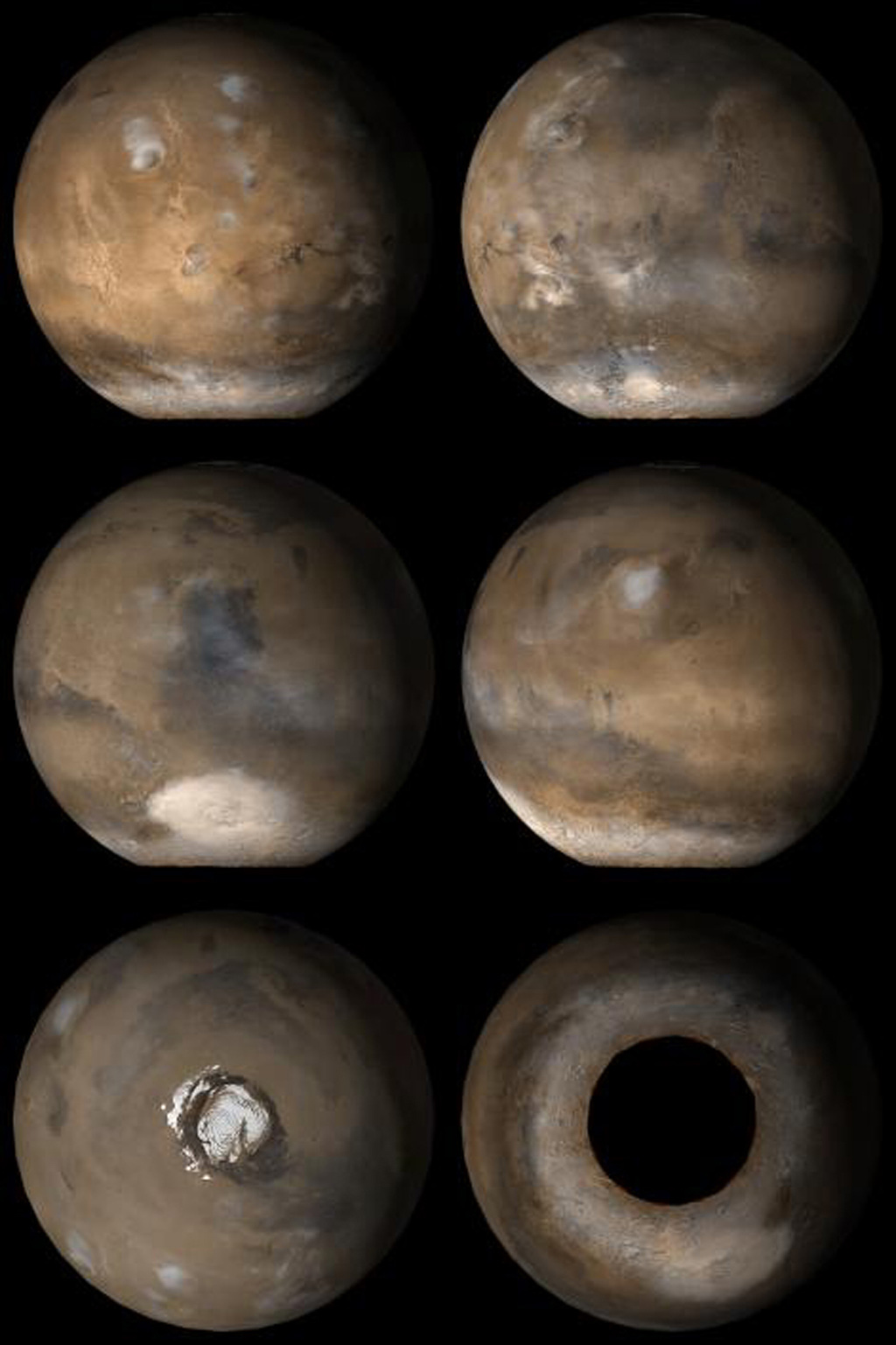 NASA's Mars Global Surveyor shows six views of Mars during the month of November, 2006.