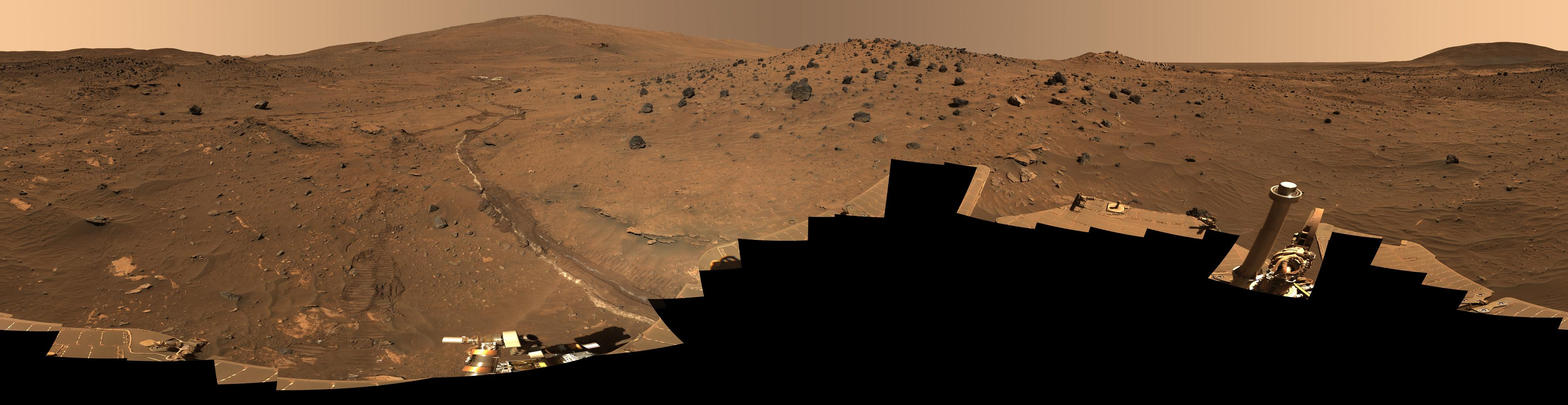 This 360-degree view, called the 'McMurdo' panorama, comes from the panoramic camera (Pancam) on NASA's Mars Exploration Rover Spirit. From April through October 2006, Spirit has stayed on a small hill known as 'Low Ridge.'