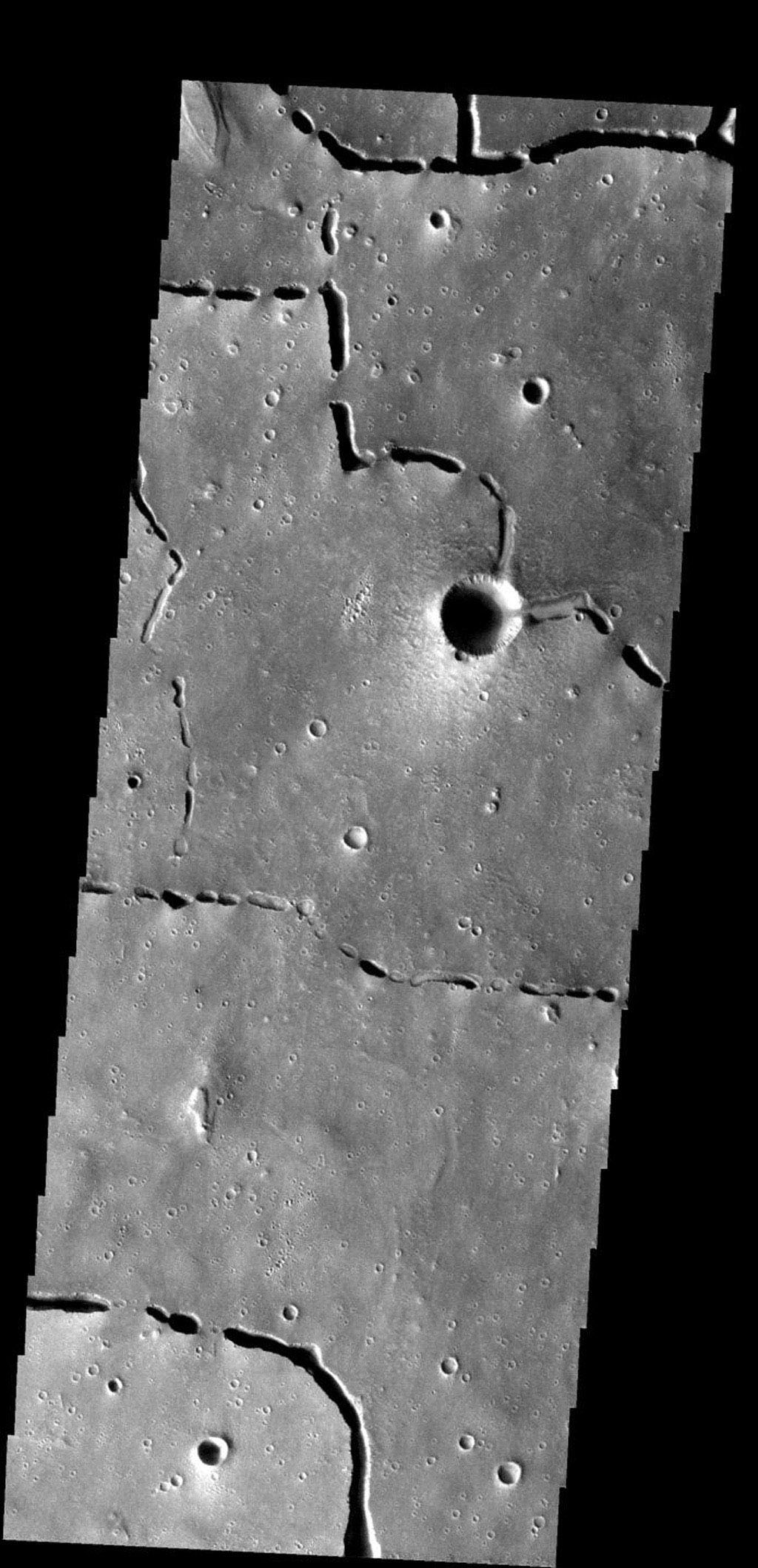 The collapse features in this images are related to lava tubes that likely originated at Elysium volcanic complex on Mars. This image was taken by NASA's Mars 2001 Odyssey spacecraft.