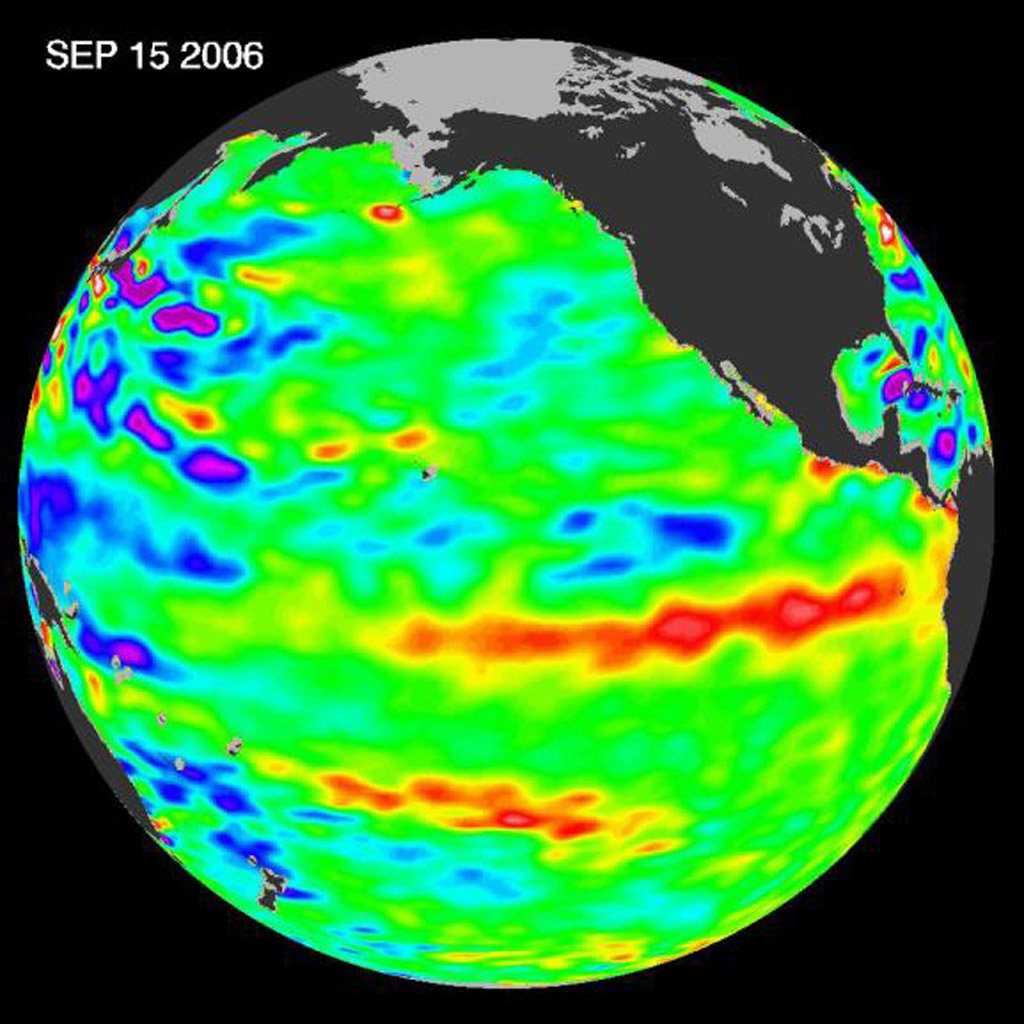 In September 2006, NASA's Jason-1 satellite data indicated that El Niño had returned to the tropical Pacific Ocean, although it was relatively weak.