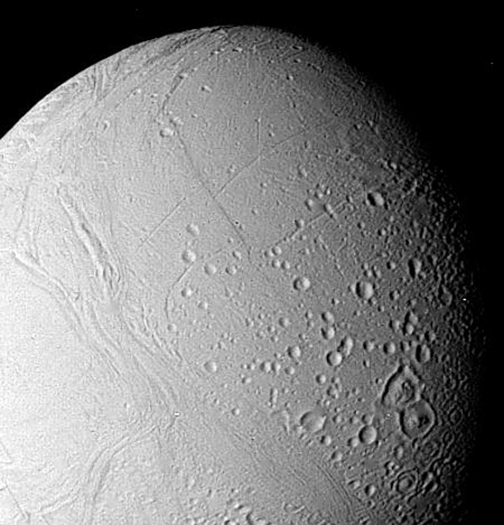 The surface of Enceladus is seen in this closeup view obtained Aug. 25, 1981, when NASA's Voyager 2 was 112,000 kilometers (69,500 miles) from this satellite of Saturn.