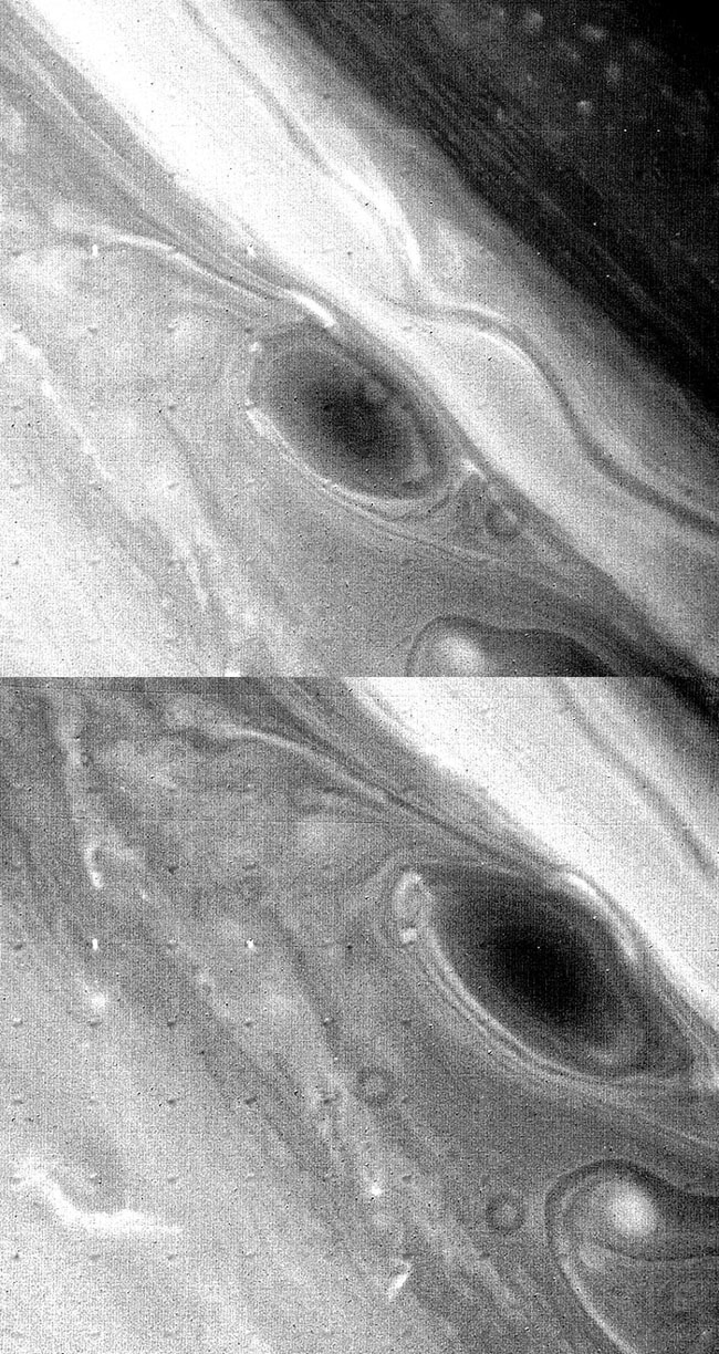 Circulation around a large brown spot in Saturn's atmosphere can be seen in this pair of NASA's Voyager 2 images taken Aug. 23 and 24, 1981, from distances of 2.7 million and 2.3 million kilometers (1.7 million and 1.4 million miles), respectively.