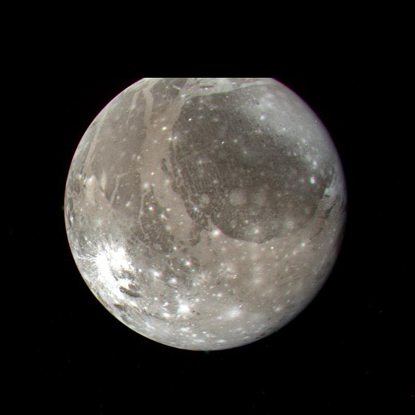 NASA's Voyager 2 color photo of Ganymede, the largest Galilean satellite, was taken on July 7, 1979, from a range of 1.2 million kilometers.
