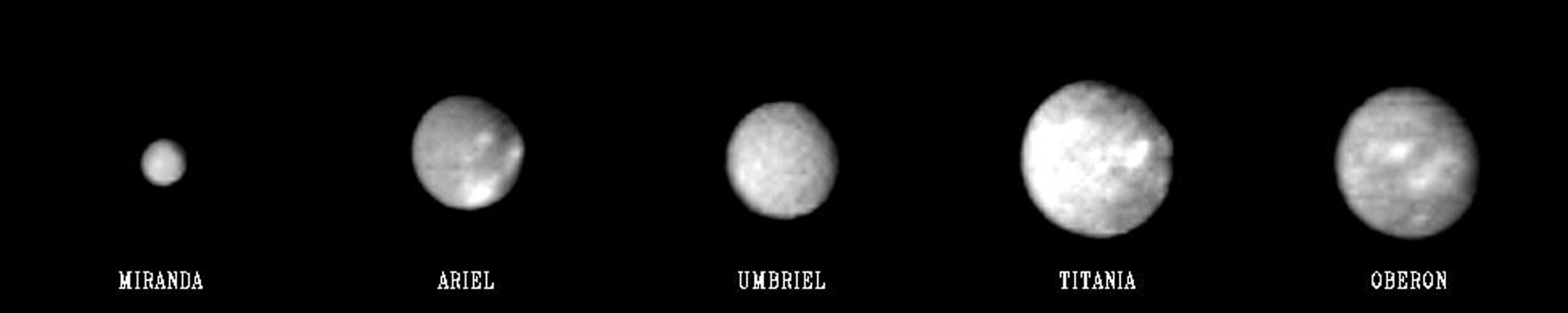 This 'family portrait' of Uranus' five largest moons was compiled from images sent back Jan. 20, 1986, by NASA's Voyager 2 spacecraft. Even in these distant views, the satellites exhibit distinct differences in appearance.
