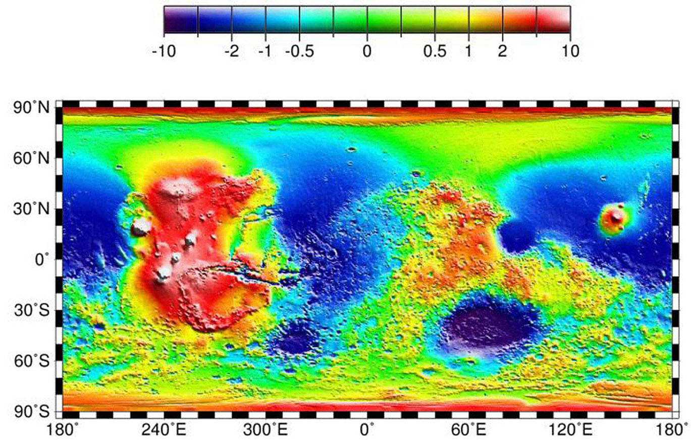 NASA's Mars Global Surveyor shows a topography map of the Tharsis province and the Hellas impact basin.
