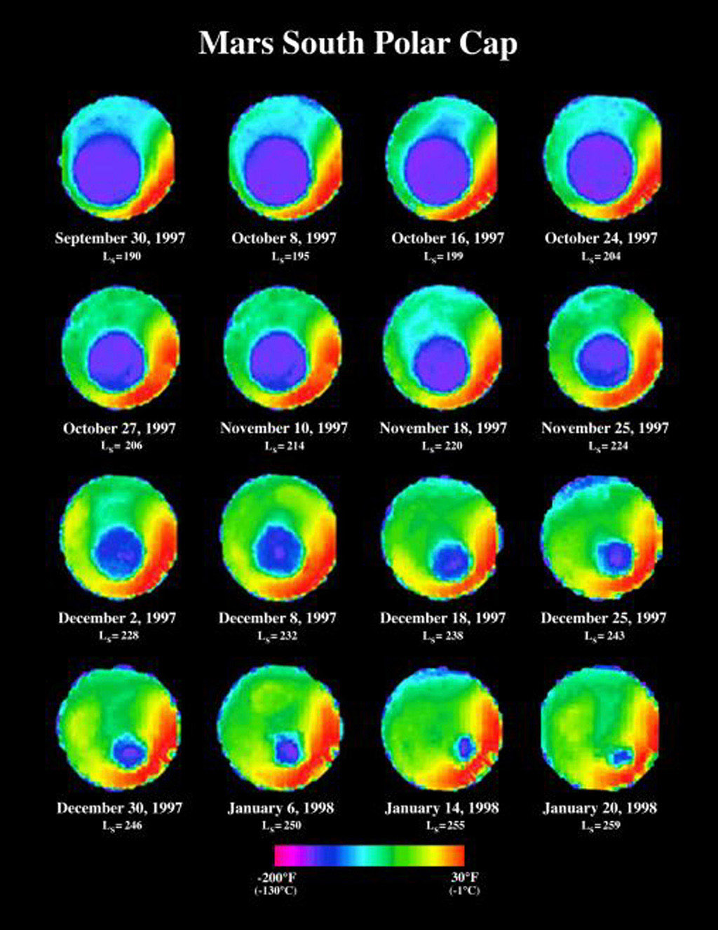 NASA's Mars Global Surveyor shows the seasonal change of the south polar ice cap on Mars over a four-month period mapped by color-coding the variation in 25-micron wavelength brightness temperatures.