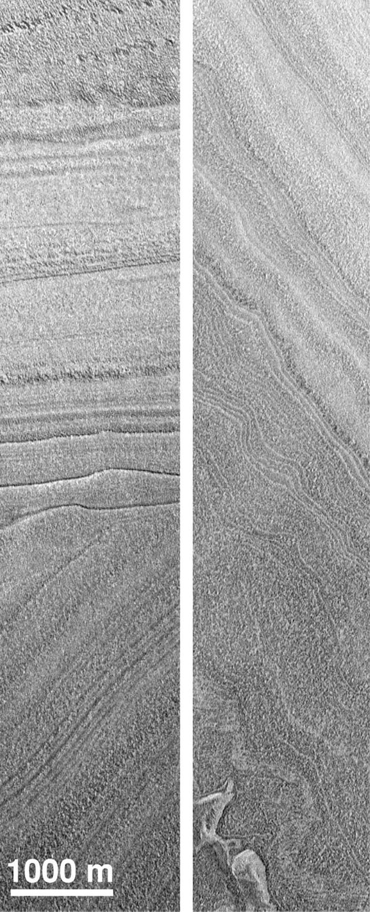 NASA's Mars Global Surveyor shows martian polar layered deposits taken in July 1998 exhibiting features common to sedimentary rocks on Earth. At left, an angular unconformity, with horizontal layers overlying tilted beds; at right: deformed layers.
