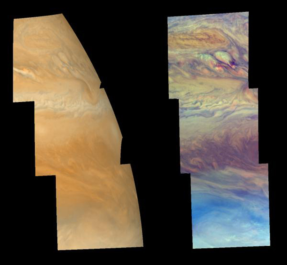 Cloud features north of Jupiter's equator, in the region between 3 and 30 degrees north latitude, are shown in approximately true color (left mosaic) and in false color (right mosaic). The images were taken by NASA's Galileo spacecraft.