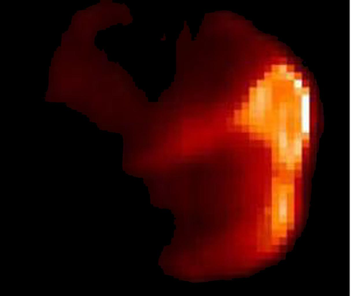 This image composite shows comet Tempel 1 in infrared light . The infrared picture highlights the warm, or sunlit, side of the comet, where NASA's Deep Impact probe later hit.