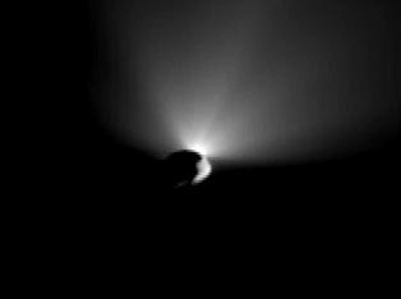 NASA's Deep Impact's flyby spacecraft took this image after it turned around to capture last shots of a receding comet Tempel 1. Earlier, the mission's probe had smashed into the surface of Tempel 1.