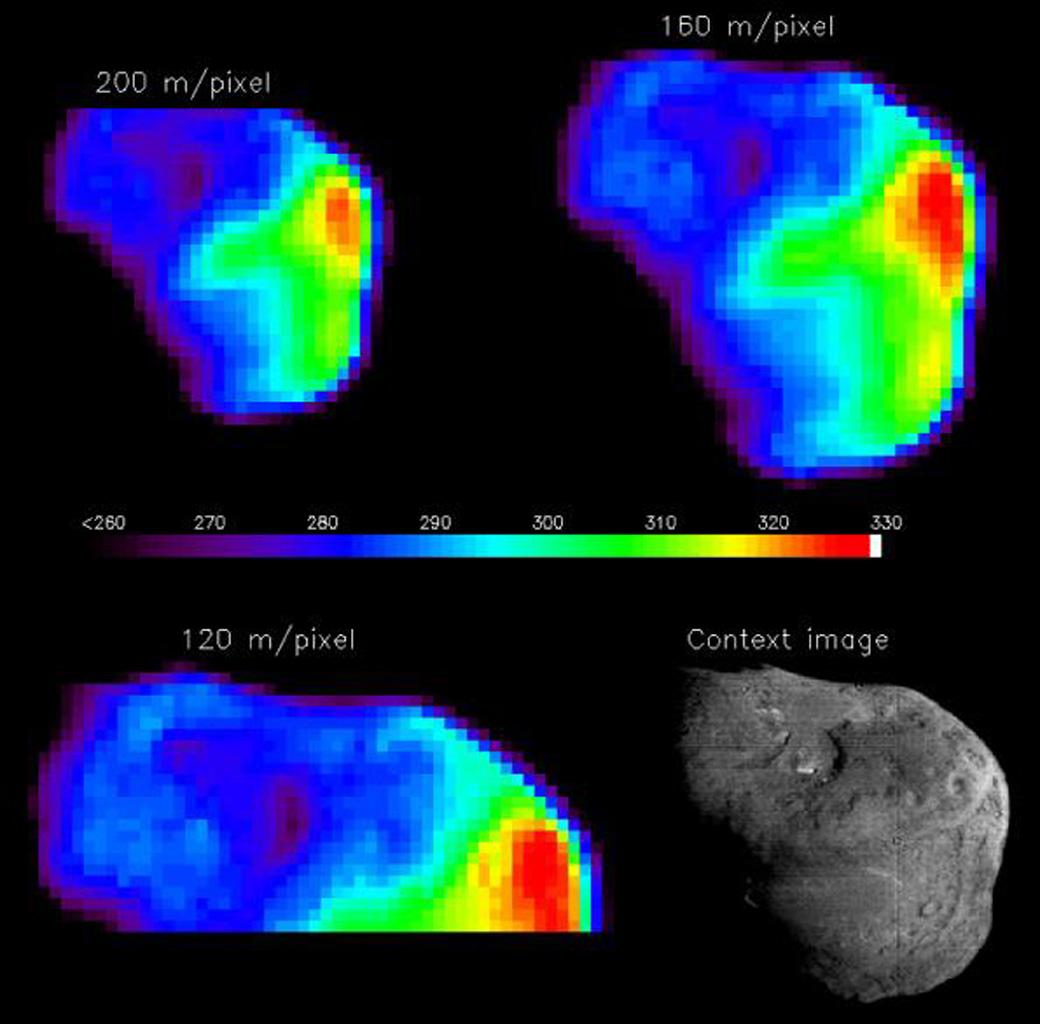 This is a Tempel 1 temperature map of the nucleus with different spatial resolutions from NASA's Deep Impact mission. The color bar in the middle gives temperature in Kelvins. The sun is to the right in all images.