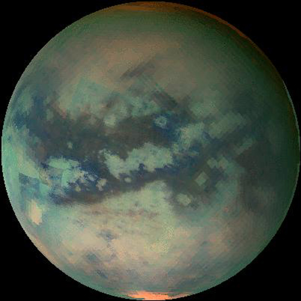 This frame from a movie of Titan shows data taken with NASA's Cassini's visual and infrared mapping spectrometer during the last three flybys of Titan.