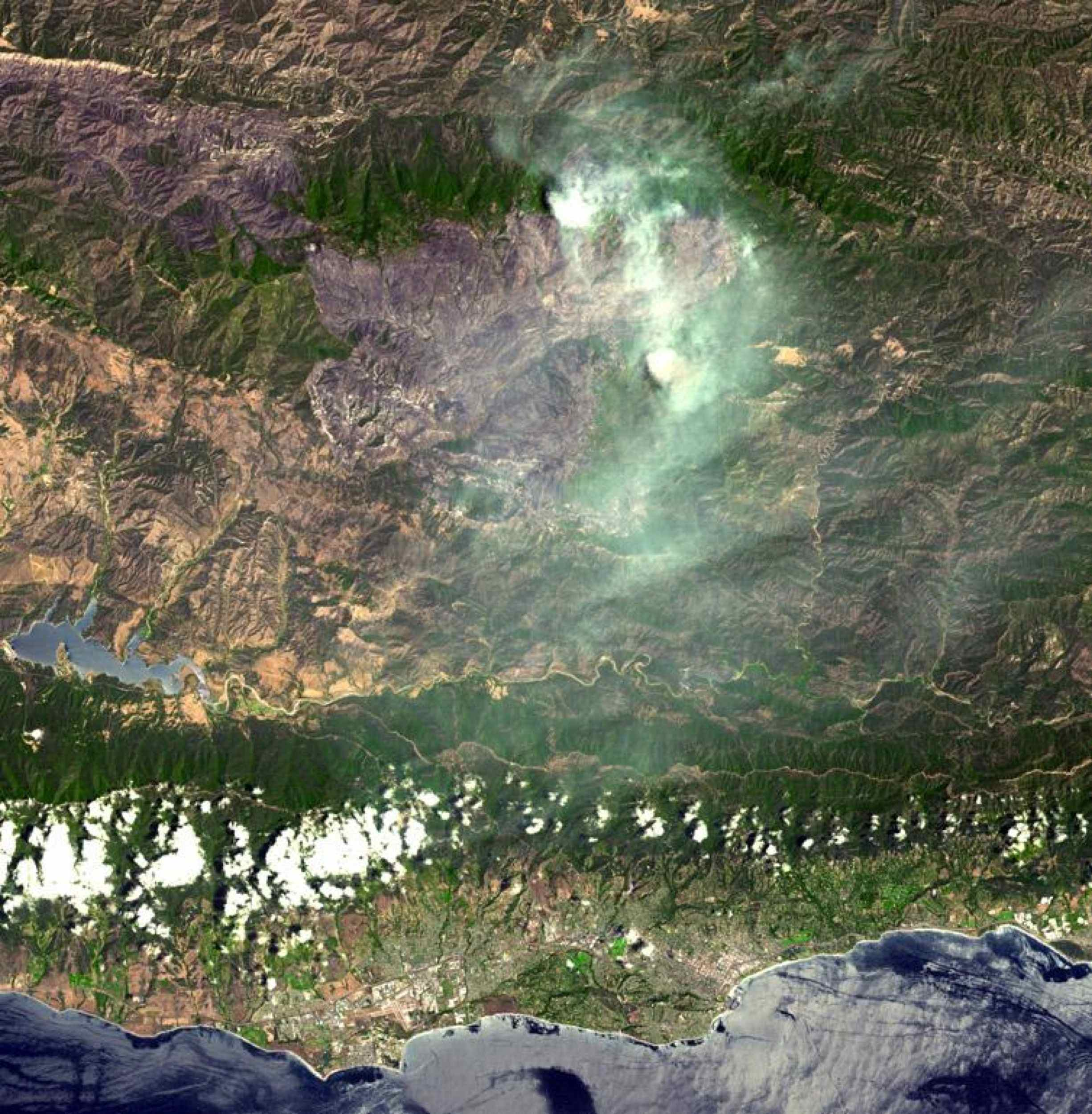 On August 7, 2007, the Zaca fire continued to burn in the Los Padres National Forest near Santa Barbara, California. This image is from NASA's Terra spacecraft.
