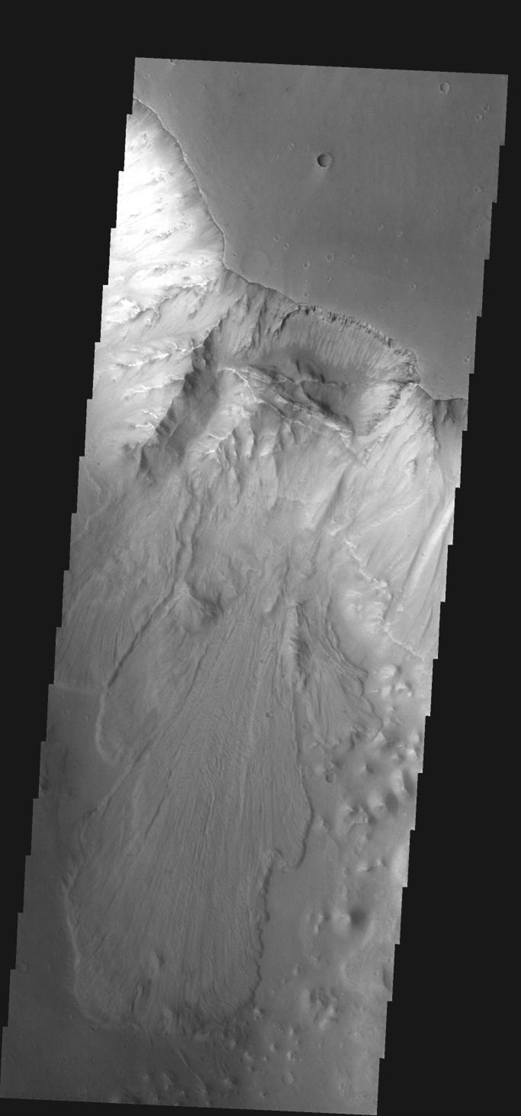 This large landslide is located within Ganges Chasma on Mars as seen by NASA's 2001 Mars Odyssey spacecraft.