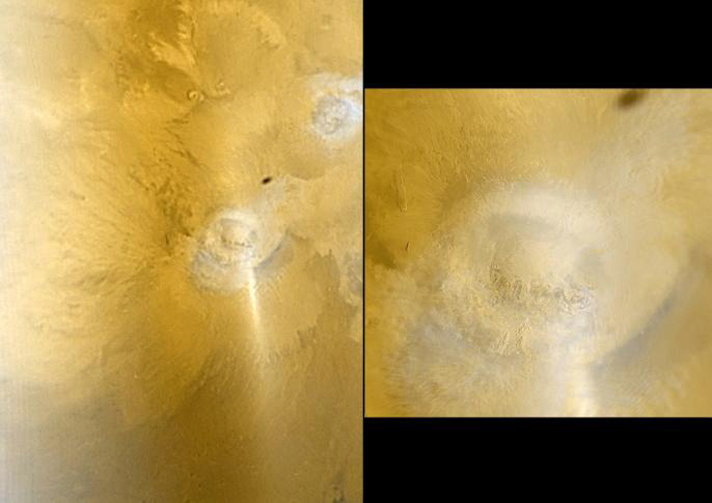 This pair of images color images from NASA's Mars Global Surveyor shows early autumn clouds over the Arsia Mons volcano, plus the shadow of the innermost of the two martain moons, Phobos.