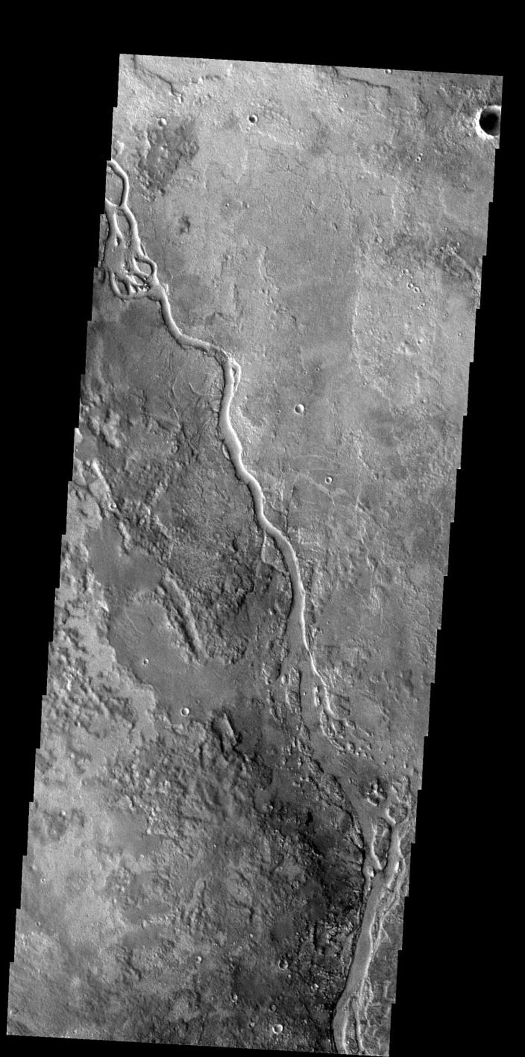 The channel in this image is called Apsus Vallis and it is located near the Elysium volcanic complex. Lava may have played a part in the formation of Apsus Vallis on Mars as seen by NASA's 2001 Mars Odyssey.