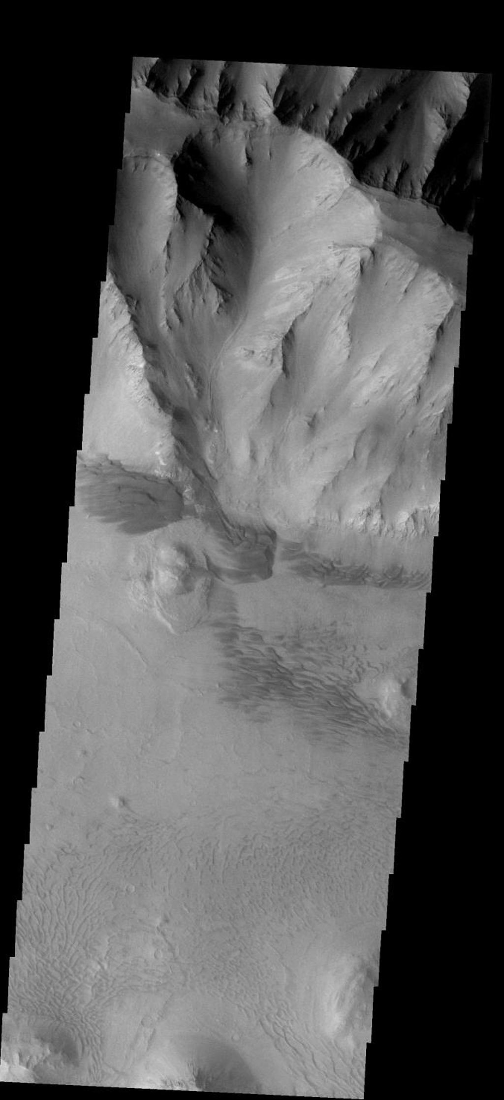 This image of the east end of Coprates Chasma on Mars contains several dune fields. The dunes in the center of the image are larger and darker than the dunes at the bottom as seen by NASA's 2001 Mars Odyssey.
