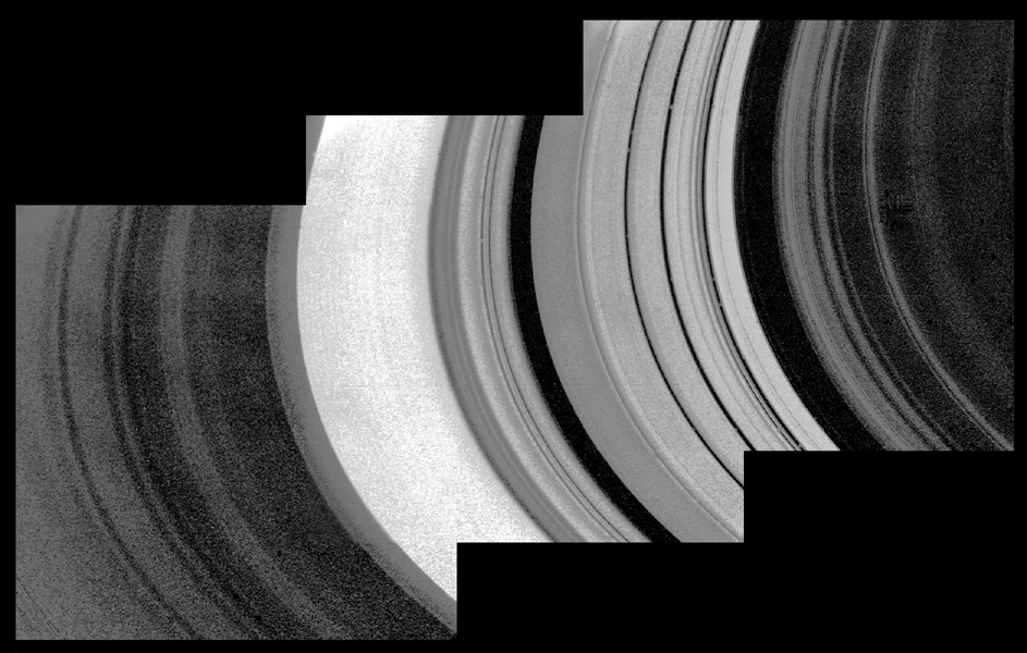 This detailed mosaic of the underside of the Cassini Division was obtained by NASA's Voyager 1 with a resolution of about 10 kilometers.
