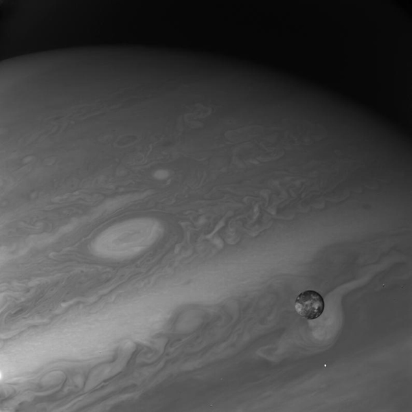 This photo of Io, innermost of the four large Galilean satellites of Jupiter, was taken through an ultraviolet filter by the narrow angle camera of NASA's Voyager 1.